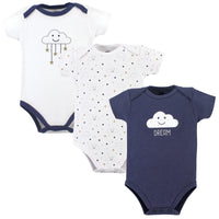 Hudson Baby Cotton Bodysuits, Navy Clouds