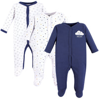 Hudson Baby Cotton Sleep and Play, Navy Clouds