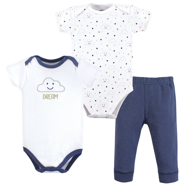Hudson Baby Cotton Bodysuit and Pant Set, Navy Clouds