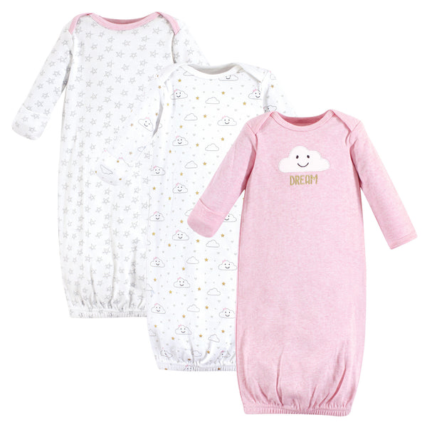 Hudson Baby Cotton Gowns, Pink Clouds
