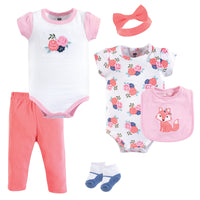 Hudson Baby Cotton Layette Set, Floral Fox