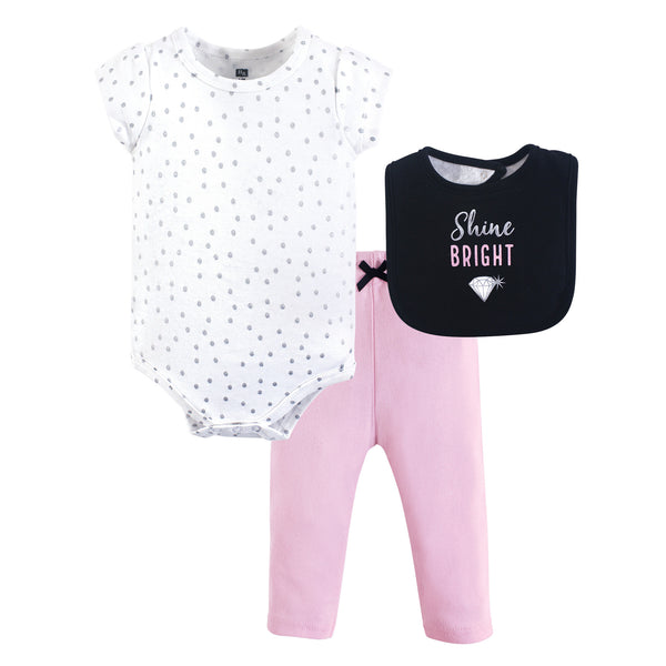 Hudson Baby Cotton Bodysuit, Pant and Bib Set, Shine