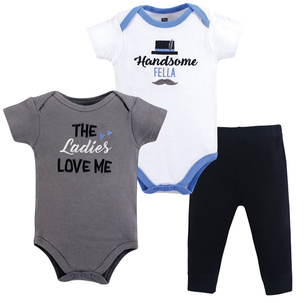 Hudson Baby Cotton Bodysuit and Pant Set, Ladies Love Me