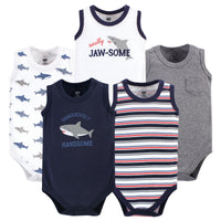 Hudson Baby Cotton Sleeveless Bodysuits, Shark