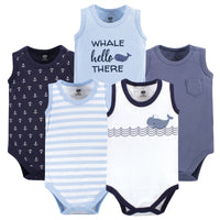 Hudson Baby Cotton Sleeveless Bodysuits, Sailor Whale