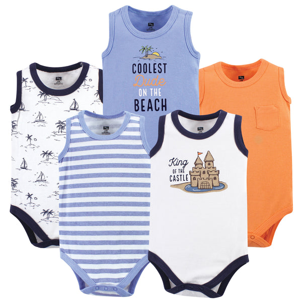 Hudson Baby Cotton Sleeveless Bodysuits, Sandcastle