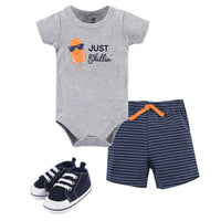 Hudson Baby Cotton Bodysuit, Shorts and Shoe Set, Chillin Popsicle