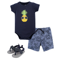 Hudson Baby Cotton Bodysuit, Shorts and Shoe Set, Pineapple