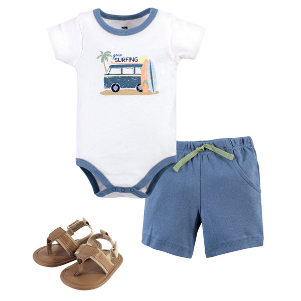 Hudson Baby Cotton Bodysuit, Shorts and Shoe Set, Gone Surfing