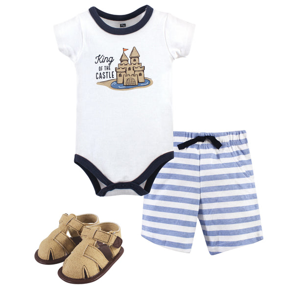 Hudson Baby Cotton Bodysuit, Shorts and Shoe Set, Sandcastle
