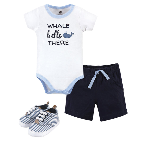 Hudson Baby Cotton Bodysuit, Shorts and Shoe Set, Whale Hello