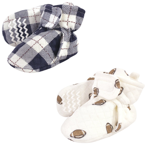Hudson Baby Quilted Booties 2pk, Football