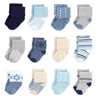 Hudson Baby Cotton Rich Newborn and Terry Socks, Blue Gray Aztec