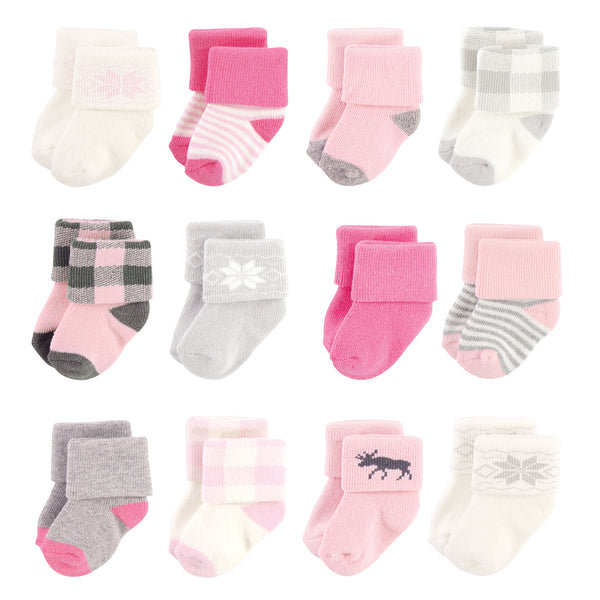 Hudson Baby Cotton Rich Newborn and Terry Socks, Pink Moose