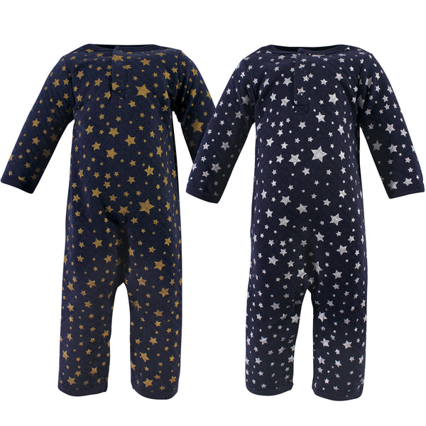 Hudson Baby Premium Quilted Coveralls, Metallic Stars