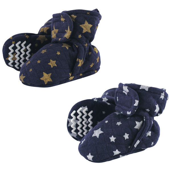 Hudson Baby Quilted Booties, Metallic Stars, 0-6 Months