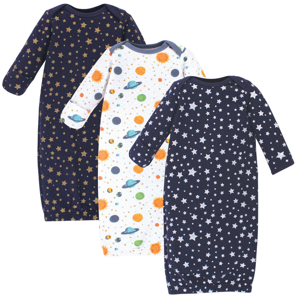 Hudson Baby Quilted Cotton Gowns 3pk, Metallic Stars