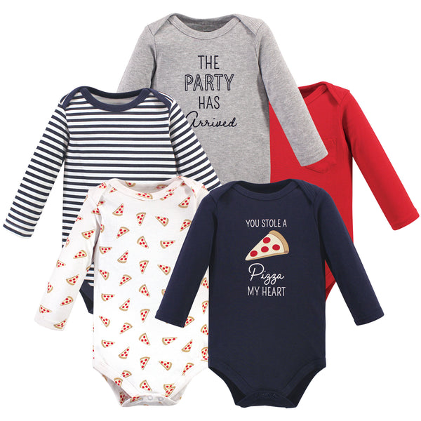 Hudson Baby Cotton Long-Sleeve Bodysuits, Pizza