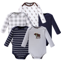 Hudson Baby Cotton Long-Sleeve Bodysuits, Gray Moose