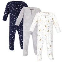 Hudson Baby Cotton Sleep and Play, Navy Stars Moons