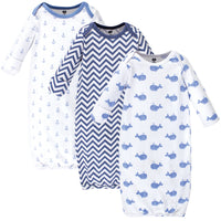 Hudson Baby Cotton Gowns, Blue Whales