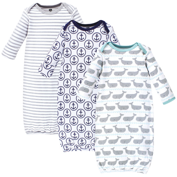 Hudson Baby Cotton Gowns, Whales Anchor