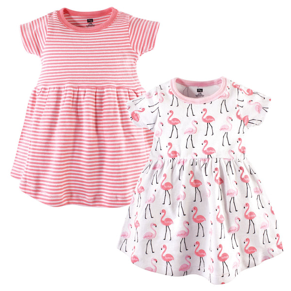 Hudson Baby Cotton Dresses, Flamingos