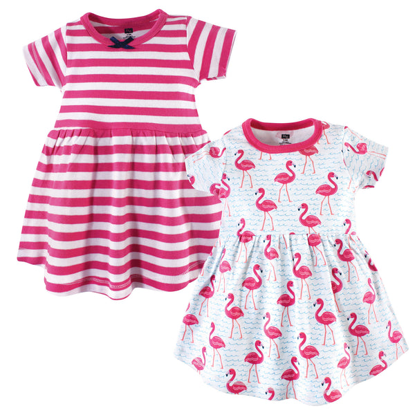 Hudson Baby Cotton Dresses, Bright Flamingo