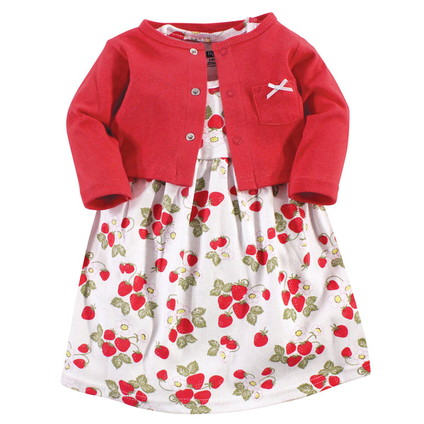 Hudson Baby Cotton Dress and Cardigan Set, Strawberries