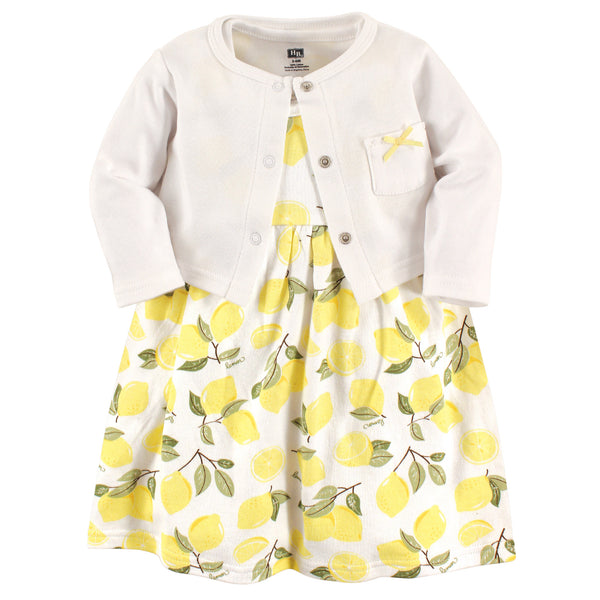 Hudson Baby Cotton Dress and Cardigan Set, Lemon