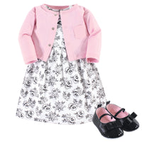 Hudson Baby Cotton Dress, Cardigan and Shoe Set, Toile