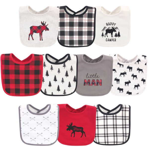Hudson Baby Cotton Bibs, Buffalo Plaid Moose, One Size