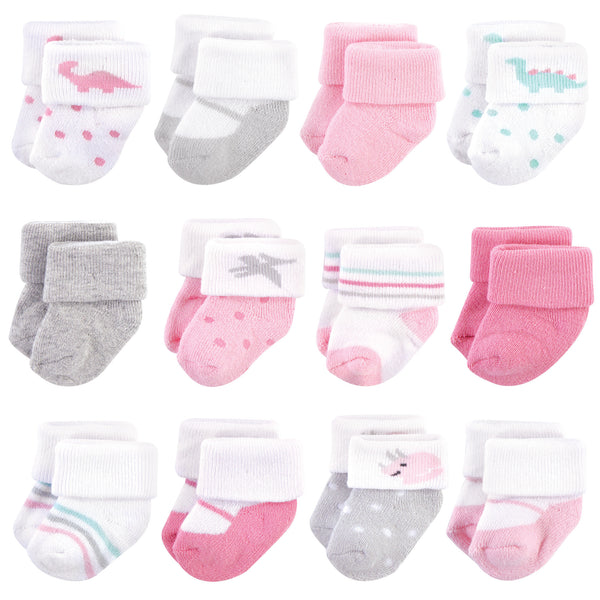 Hudson Baby Cotton Rich Newborn and Terry Socks, Girl Dino