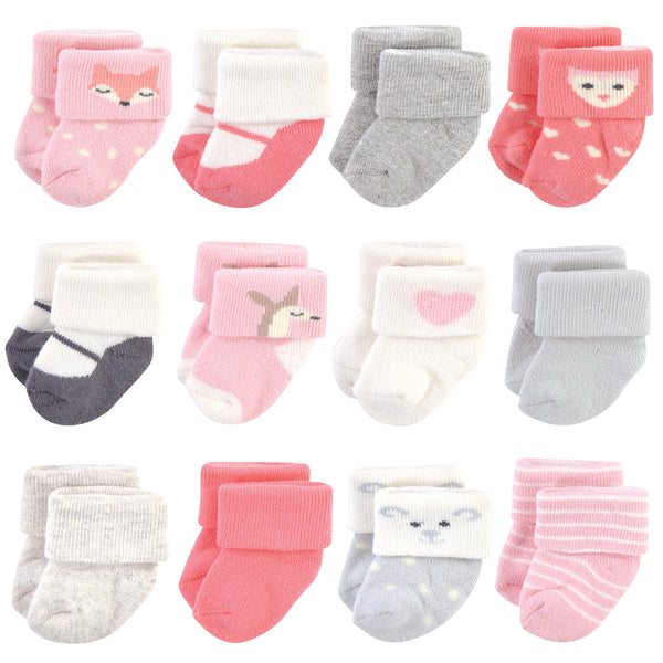 Hudson Baby Cotton Rich Newborn and Terry Socks, Girl Woodland, 0-3 Months