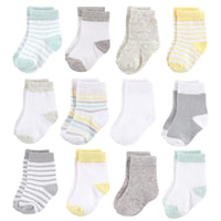 Hudson Baby Cotton Rich Newborn and Terry Socks, Neutral Stripe