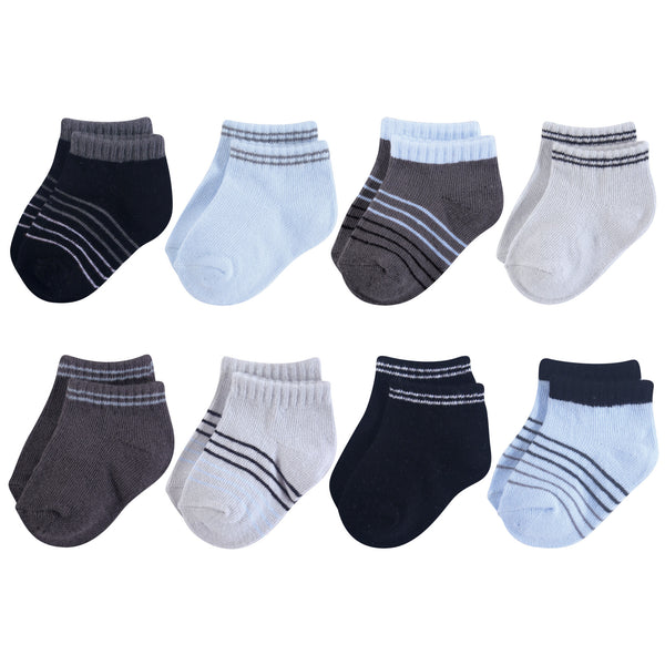 Hudson Baby Cotton Rich Newborn and Terry Socks, Blue Black