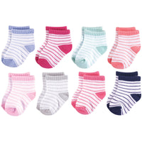 Hudson Baby Cotton Rich Newborn and Terry Socks, Stripes Girl