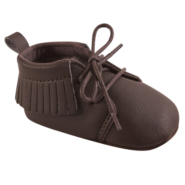 Hudson Baby Moccasin Shoes, Brown Lace