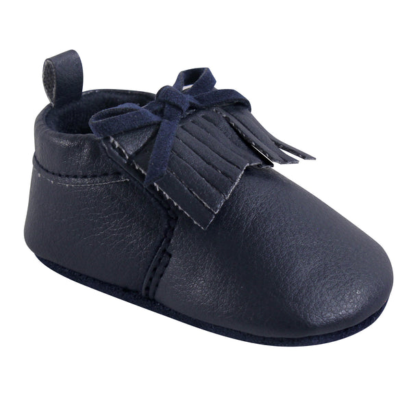 Hudson Baby Moccasin Shoes, Navy Moccasin