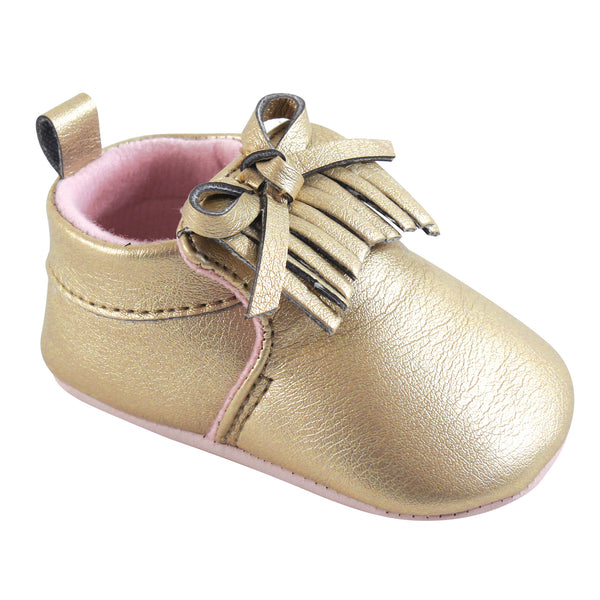Hudson Baby Moccasin Shoes, Gold Moccasin