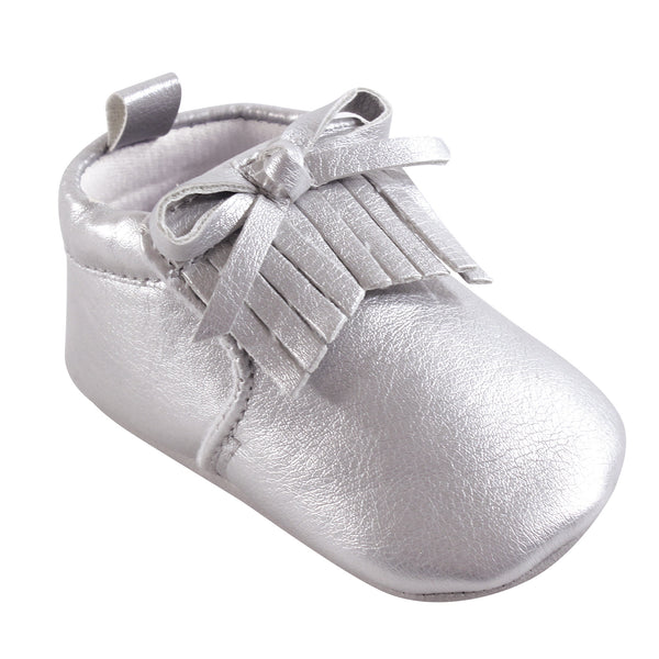 Hudson Baby Moccasin Shoes, Silver Moccasin