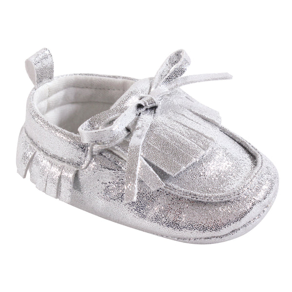 Hudson Baby Moccasin Shoes, Silver