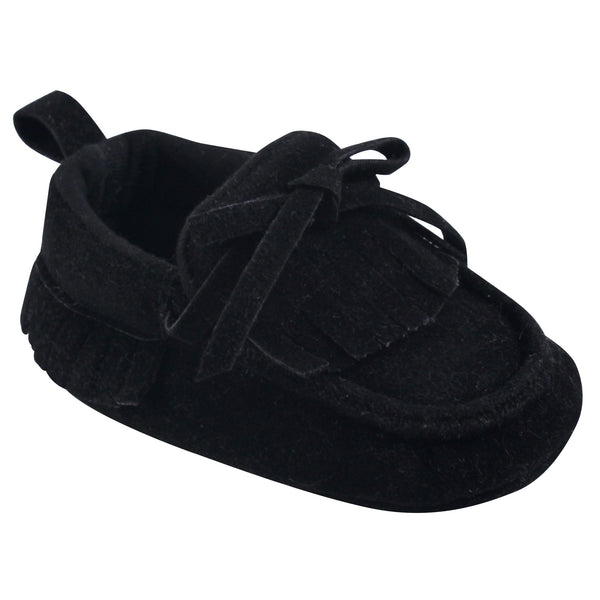 Hudson Baby Moccasin Shoes, Black Mocc