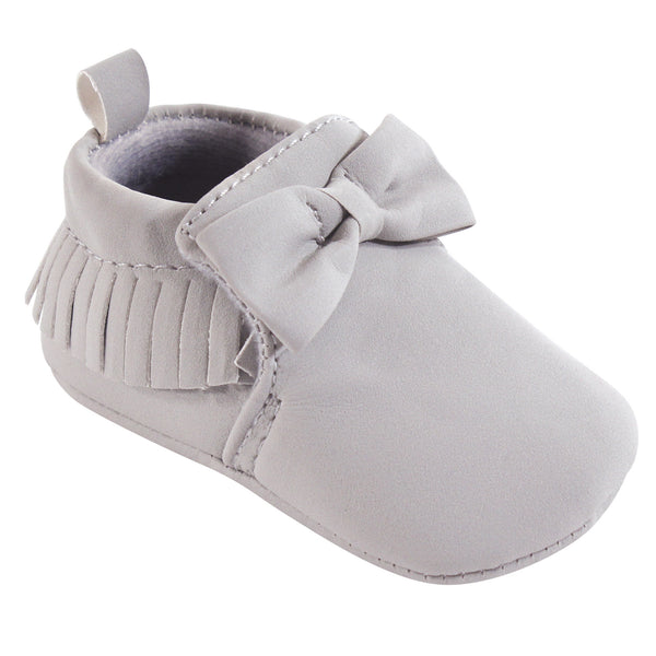 Hudson Baby Moccasin Shoes, Light Gray
