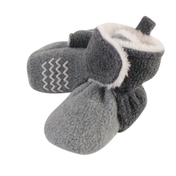Hudson Baby Cozy Fleece and Sherpa Booties, Heather Charcoal Heather Gray