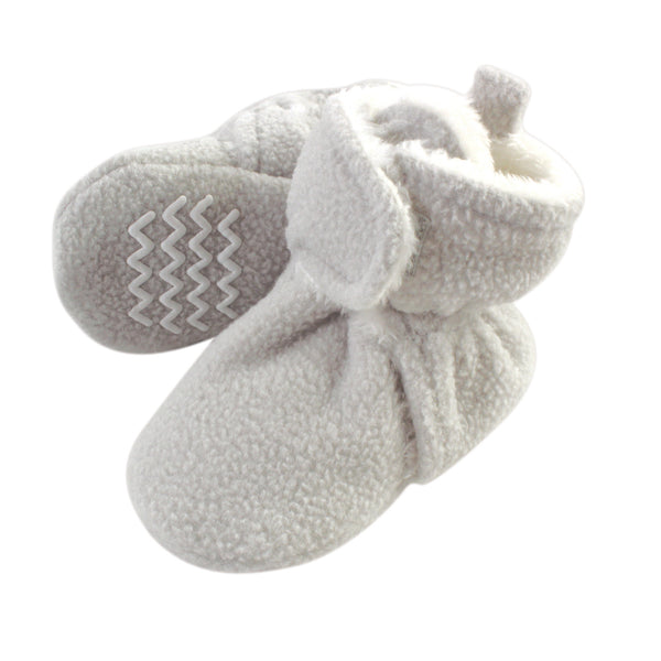 Hudson Baby Cozy Fleece and Sherpa Booties, Light Gray