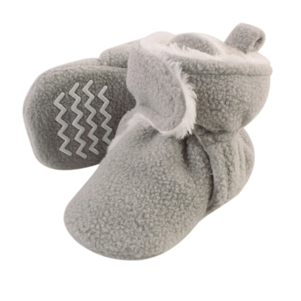 Hudson Baby Cozy Fleece and Sherpa Booties, Neutral Gray