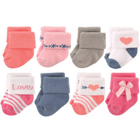 Hudson Baby Cotton Rich Newborn and Terry Socks, Love