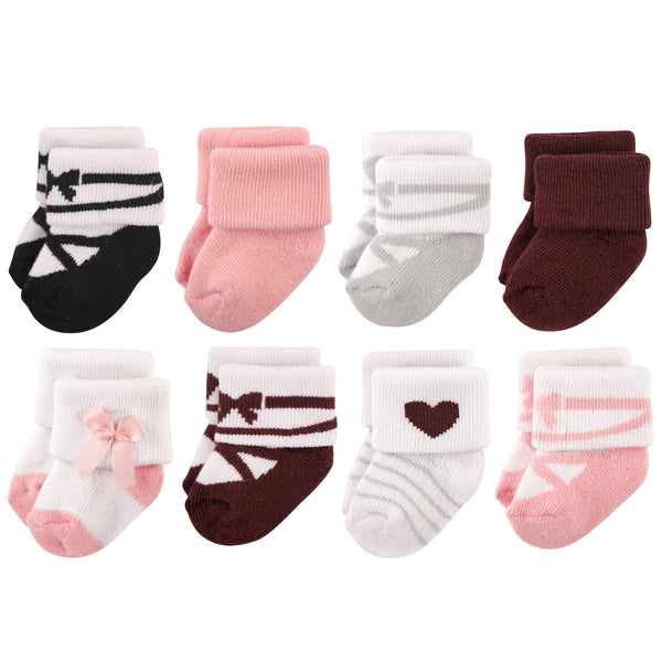 Hudson Baby Cotton Rich Newborn and Terry Socks, Ballet Burgundy
