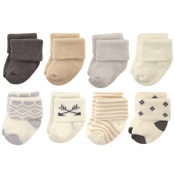 Hudson Baby Cotton Rich Newborn and Terry Socks, Aztec